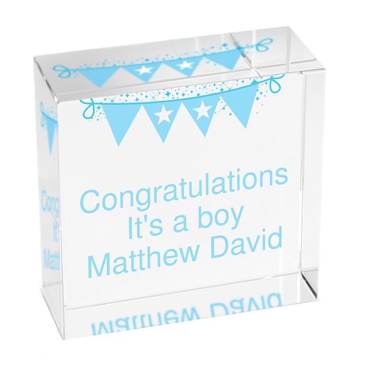 Personalised Blue Bunting Crystal Token - Product number 1444719
