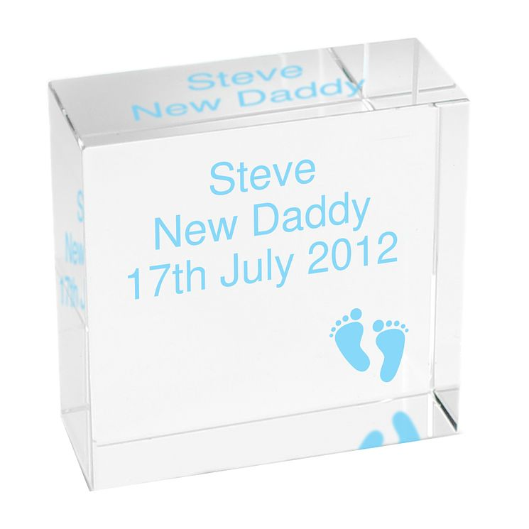 Personalised Blue Footprints Crystal Token - Product number 1444743