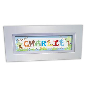 Personalised Blue Animal Name Frame - Product number 1445308