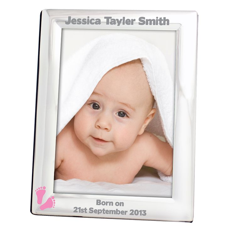 Personalised Pink Footprints Silver 5x7 Frame - Product number 1445332