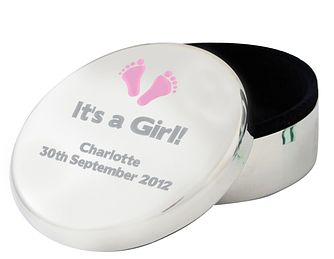 Personalised Pink Footprints Round Trinket Box - Product number 1445383