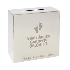 Engraved Footprint Motif Square Money Box - Product number 1445650
