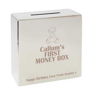 Engraved Teddy Square Money Box - Product number 1445677