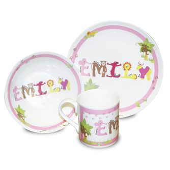 Personalised Pink Animal Name Breakfast Set - Product number 1445855