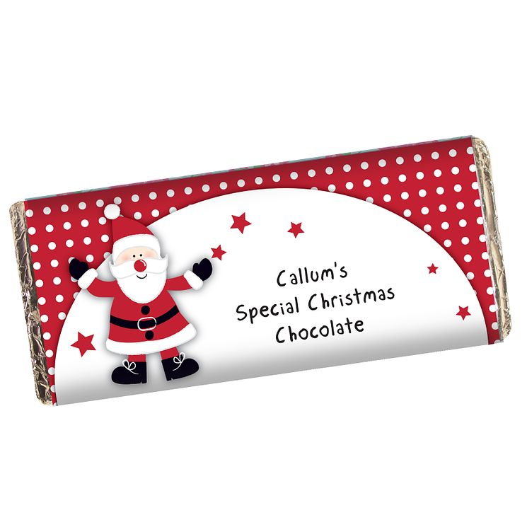 Personalised Spotty Santa Chocolate Bar - Product number 1446150