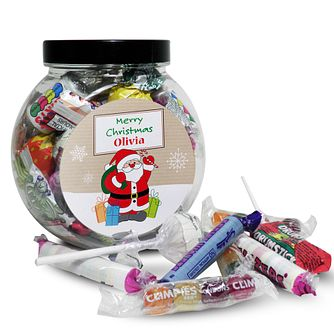 Personalised Santa Merry Christmas Sweet Jar - Product number 1446223