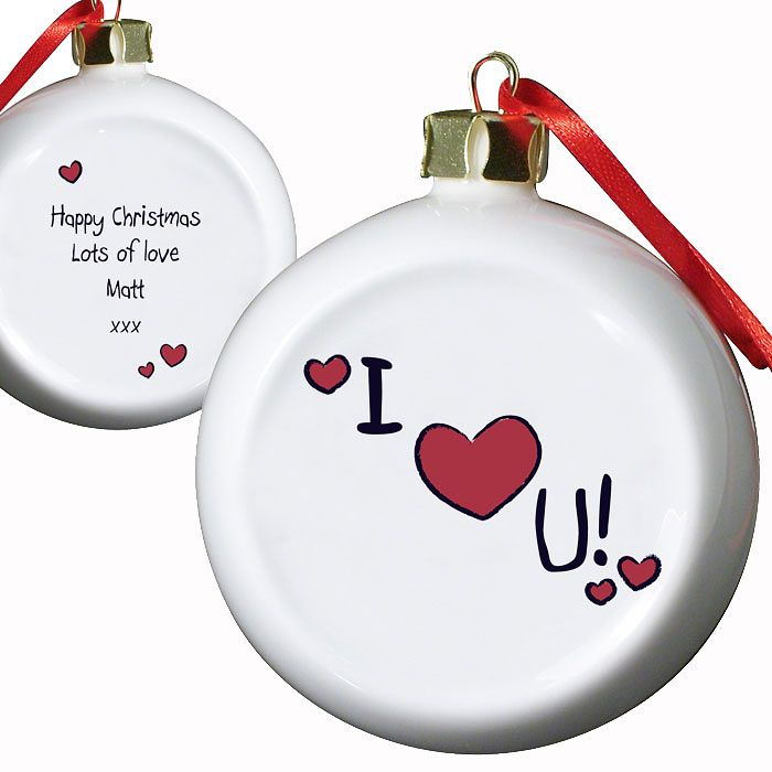 Personalised I Heart U Flat Faced Bauble - Product number 1446835