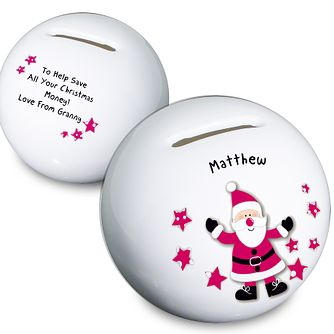 Personalised Spotty Santa Money Box - Product number 1447270