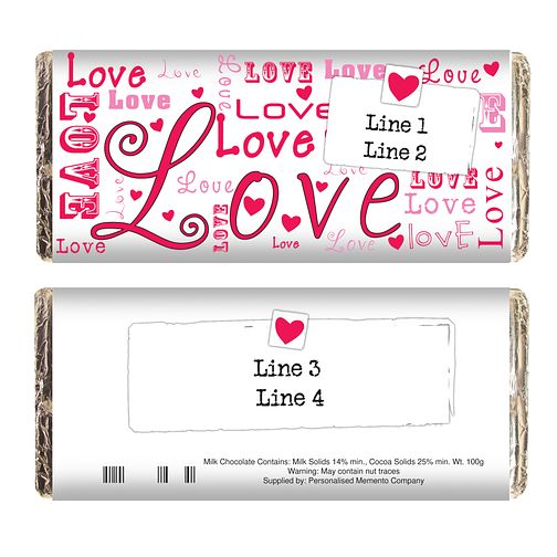 Personalised Lots Of Love Chocolate Bar - Product number 1447483