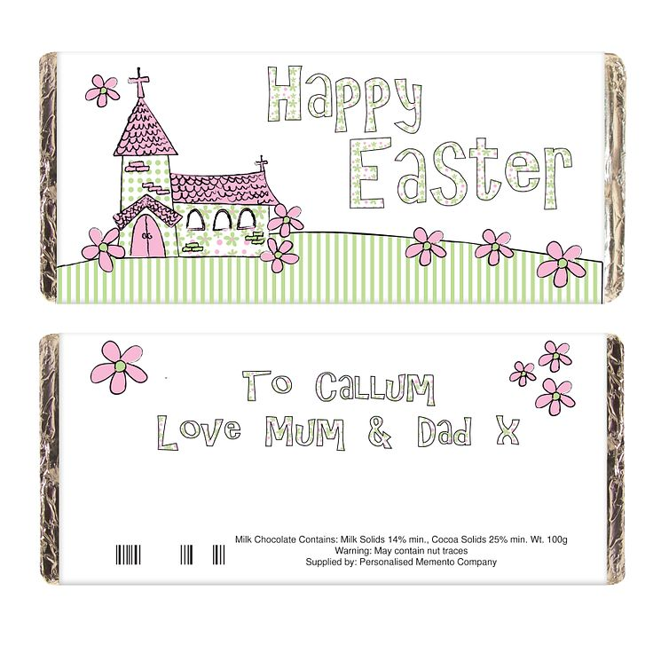 Personalised Whimsical Church Easter Chocolate Bar - Product number 1447513