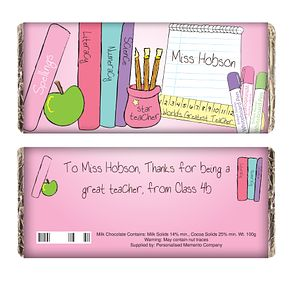 Personalised Pink Teachers Books Chocolate Bar - Product number 1447548