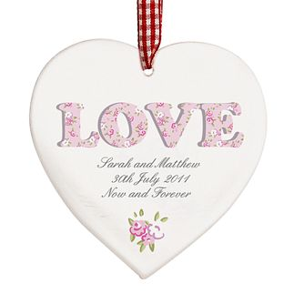 Personalised Floral Wooden Heart Shaped Decoration - Product number 1448218