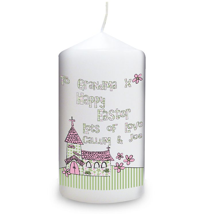 Personalised Whimsical Church Easter Candle - Product number 1448250