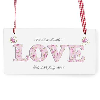 Personalised Floral Design Love Wooden Sign - Product number 1448722