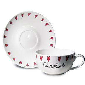 Personalised Hearts Tea Cup & Saucer - Product number 1448811