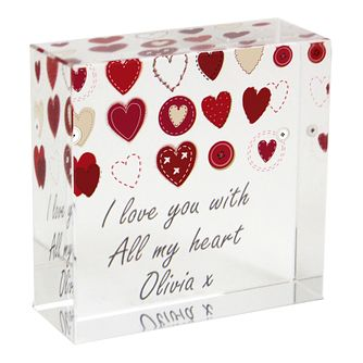 Personalised Fabric Hearts Design Crystal Token - Product number 1449885