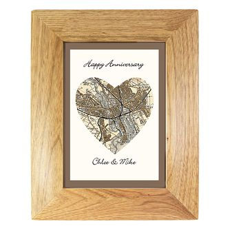 Personalised Postcode Map 5x5 Oak Frame - Product number 1450263