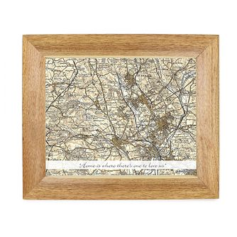 Personalised 10x8 Framed Postcode Map With Message - Product number 1450557