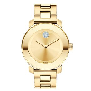 Movado ladies' stone set gold-plated bracelet watch - Product number 1452436