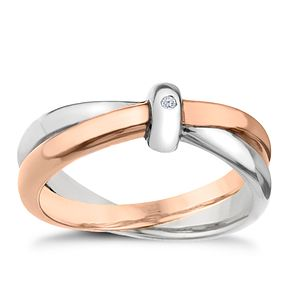 Hot Diamonds Two Tone Sterling Silver Ring Size L - Product number 1457977