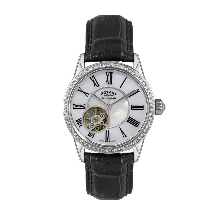 Rotary ladies' stainless steel black leather strap watch - Product number 1458094