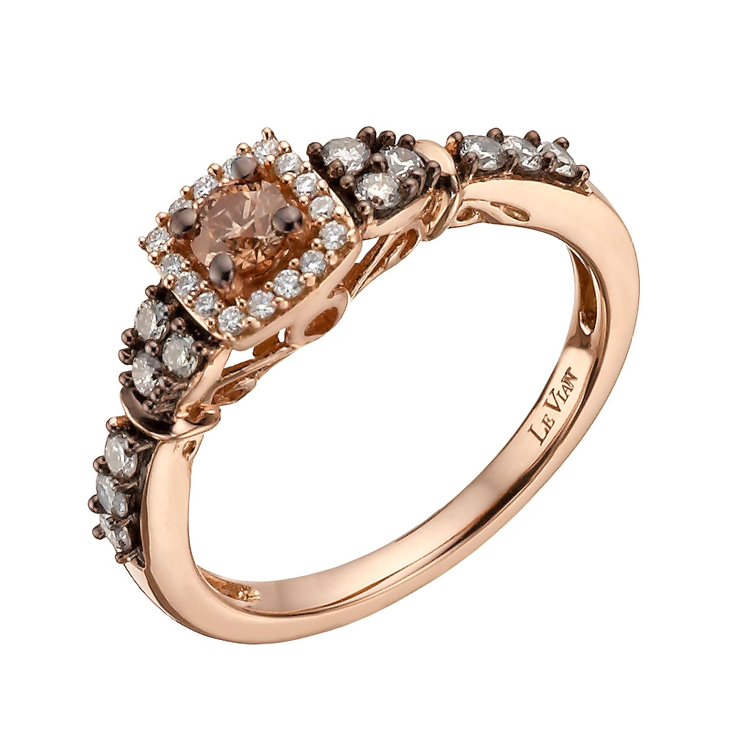 le chocolate tw v ae strawberry t ring w diamond rings vian p diamonds twist shank ct cluster gold