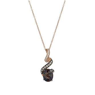 Le Vian 14ct Strawberry Gold quartz & 26pt diamond pendant - Product number 1470140