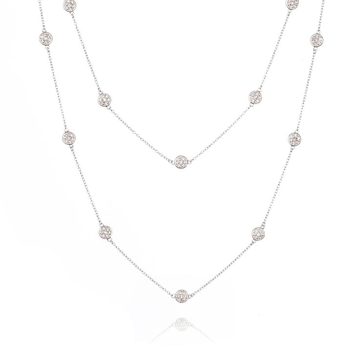 Gaia Sterling Silver Cubic Zirconia Double Chain Necklace - Product number 1470582