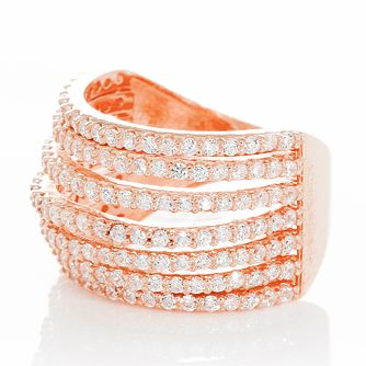 Gaia Sterling Silver Rose Gold-Plated Zirconia Ring Size L - Product number 1470779