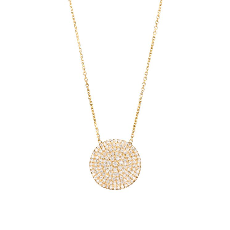 Gaia Silver Gold-Plated Cubic Zirconia Disc Necklace - Product number 1471147