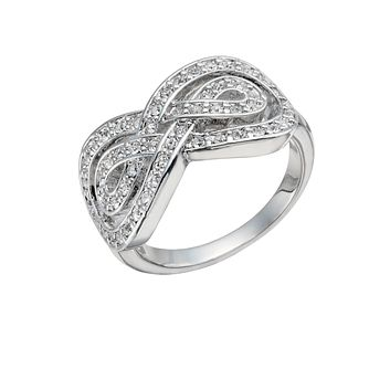 Rhodium-Plated Crystal Set Infinity Ring Size O - Product number 1519867