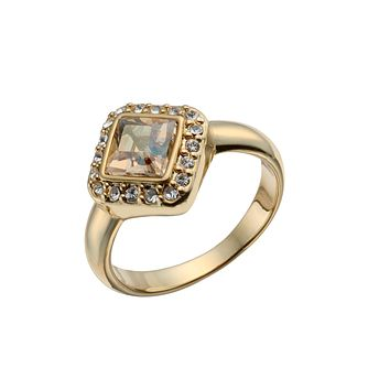 Gold-Plated Golden Crystal Princess Cut Ring Size O - Product number 1519891