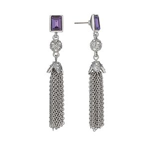 Rhodium-Plated Tanzanite Crystal Tassel Drop Earrings - Product number 1520075