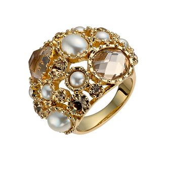 Gold-Plated Imitation Pearl & Crystal Ring Size O - Product number 1520180