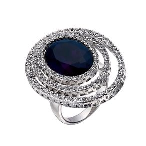 Rhodium-Plated Blue Oval & Clear Crystal Ring Size O - Product number 1520229