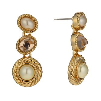 Gold-Plated Imitation Pearl & Crystal Drop Earrings - Product number 1520245
