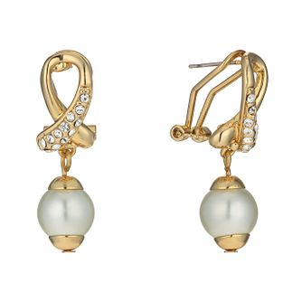Gold-Plated Imitation Pearl & Crystal Drop Earrings - Product number 1520288