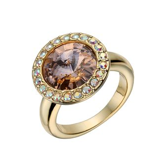 Gold-Plated Golden Round Crystal Ring Size O - Product number 1520326