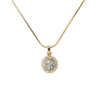 Mikey Gold Tone Crystal Halo Solitaire Pendant - Product number 1593110