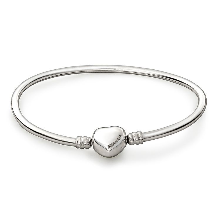 Chamilia Sterling Silver Oval Medium Bangle With Heart Snap - Product number 1600354