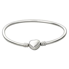 Chamilia Sterling Silver Large 8.2in Heart Snap Bangle - Product number 1600362