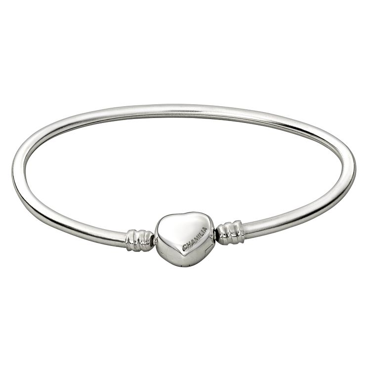 Chamilia Sterling Silver Oval Large Bangle With Heart Snap - Product number 1600362