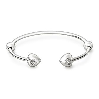 Chamilia Sterling Silver Pave Crystal Heart 8.2in Bangle - Product number 1600486