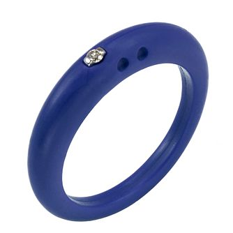 Due Punti diamond dark blue silicone ring size small - Product number 1600885