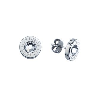 Tommy Hilfiger stone set stainless steel logo stud earrings - Product number 1621742