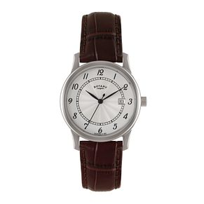 Rotary Men's Silver Dial Brown Leather Strap Watch - Product number 1638599