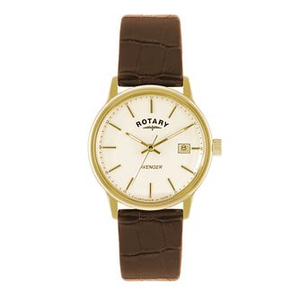 Rotary Avenger Men's Gold-Plated Brown Leather Strap Watch - Product number 1638610