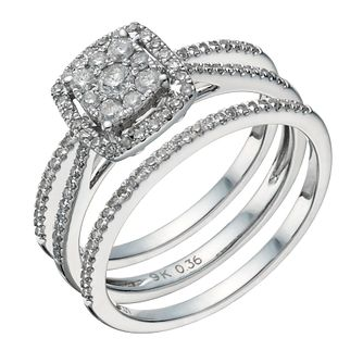 9ct white gold 1/2ct diamond cushion bridal ring set - Product number 1640615