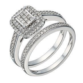 9ct white gold 1/2ct diamond princess cut bridal set - Product number 1640887