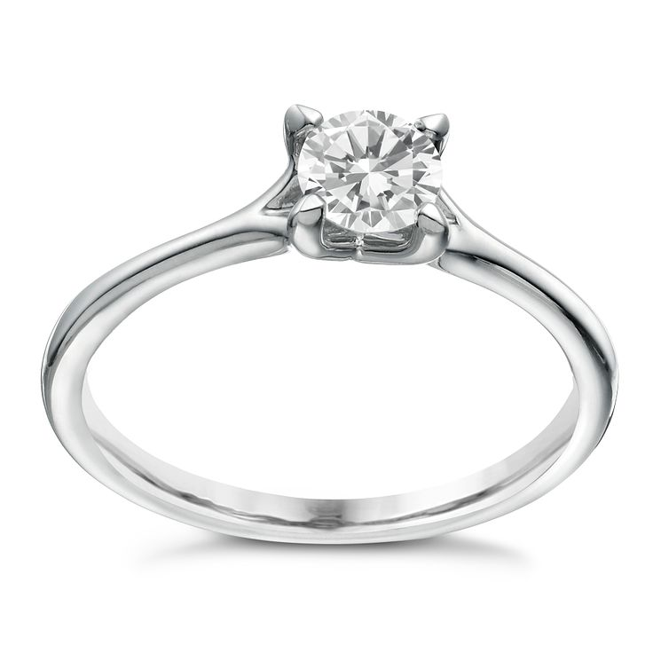 Platinum 0.50ct diamond solitaire 4 claw ring - Product number 1641433